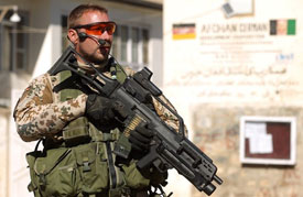 Soldier in Afghanistan with EOTech
