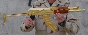 An American soldier AK 47 shows the gold