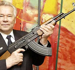 Mikhail Kalashnikov with his famous creation