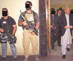 Two members of DEVGRU (Seal Team Six) acciendo work bodyguards of President Hamid Karzai of Afghanistan.