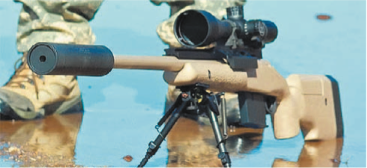 McMillan TAC-338 rifle fitted with a silencer. A similar rifle was the use Chris Kyle on his low shot confirmed longest distance (2,100 yards).